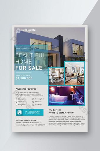 Modèle de Flyer immobilier Fichier PSD de vente de prêt immobilier Modèle PSD