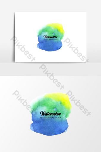 الأزرق والأخضر والأصفر ألوان مائية سبلاش خلفية شفافة صور PNG قالب EPS