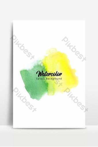 الأخضر والأصفر ألوان مائية البداية الخلفية خلفيات قالب PSD