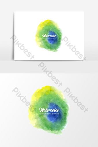 أخضر أزرق وأصفر ألوان مائية سبلاش خلفية شفافة صور PNG قالب EPS