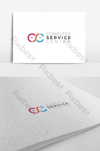 CC letter computer service center logo design Template AI