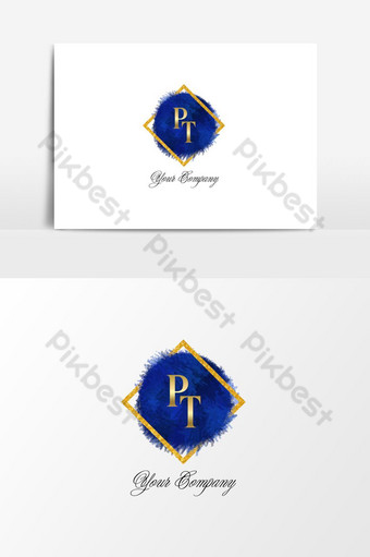 logo pt dorado con fondo azul y dorado Elementos graficos Modelo PSD