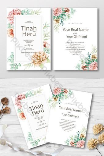 Elegant floral wedding invitation card set Template AI