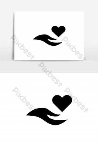 mano, con, amor, cuidado, icono Elementos graficos Modelo EPS