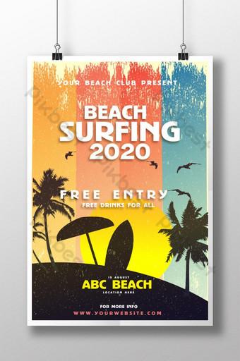 Plantilla de póster de surf de playa moderno vintage 2020 para club de playa Modelo AI