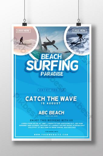 Plantilla de póster de paraíso de surf en la playa moderna y creativa para club de playa Modelo AI