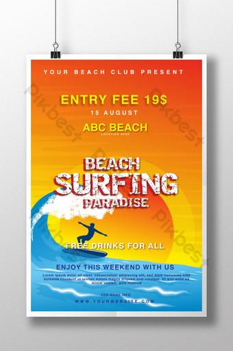 Plantilla de póster creativo y moderno para el paraíso del surf en la playa. Modelo AI
