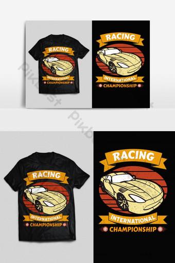 balap kejuaraan vektor cetak siap t shirt desain psd eps png Elemen Grafis Templat EPS