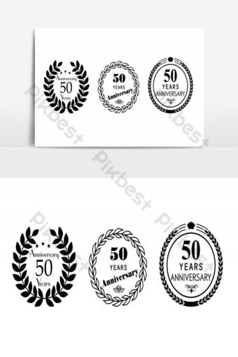 50年周年桂冠設計 元素 模板 AI