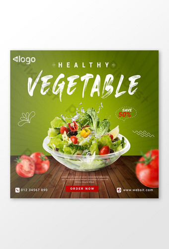 templat sepanduk instagram media sosial promosi makanan sayuran Templat EPS