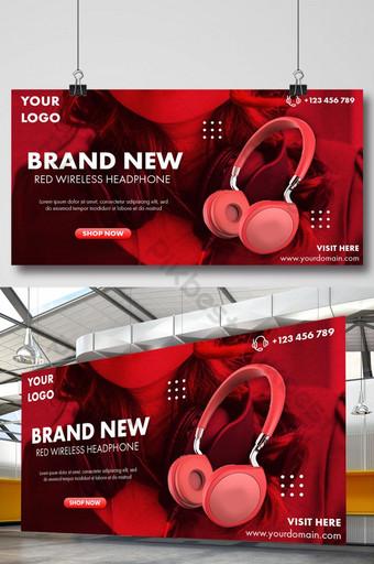 令人驚嘆的紅色無線耳機標牌橫幅 模板 PSD