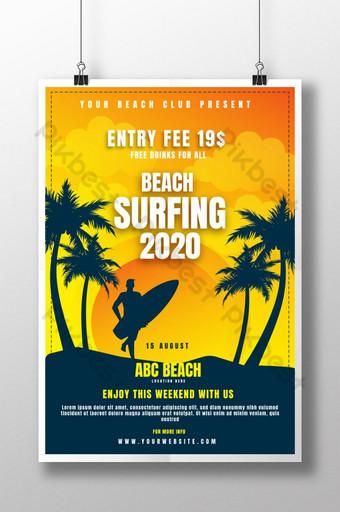 Plantilla de póster 2020 de surf de playa moderno y creativo para club de playa Modelo AI