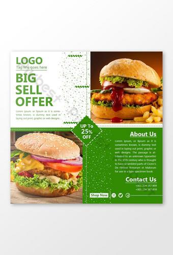 Social Media Fast Food Big Sell Offer Post. Template PSD