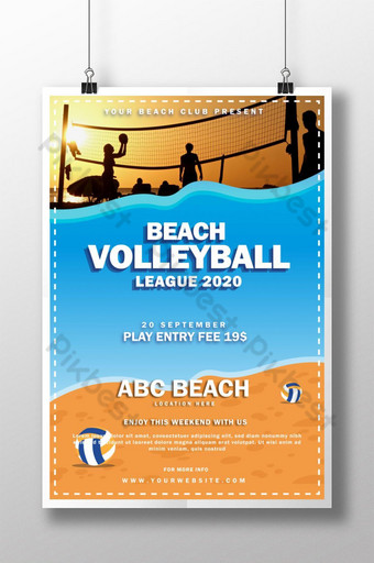Creative and Modern Sport Poster Template for Beach Volleyball League Template AI