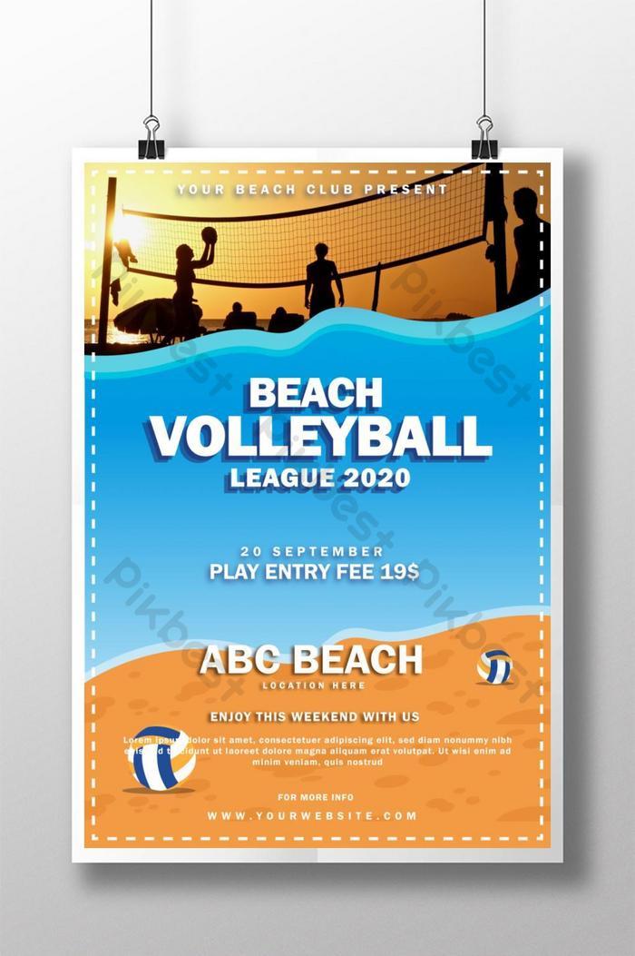Templat Poster Olahraga Kreatif Dan Modern Untuk Liga Bola Voli Pantai Templat Ai Unduhan Gratis Pikbest
