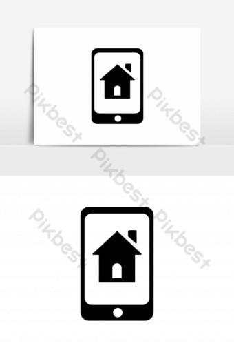 icono de la casa en la plantilla de vector de teléfono inteligente Elementos graficos Modelo EPS