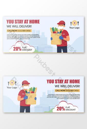 Couvertures Facebook de livraison de nourriture avec des textes modifiables Modèle AI