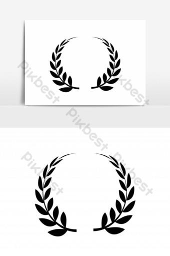 Plantilla de vector sólido de diseño de icono de corona de laurel Elementos graficos Modelo EPS