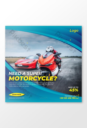 Sell a Motorcycle Social Media Post Banner Template AI