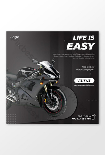 Selling Motorcycle Social Media Post Template AI