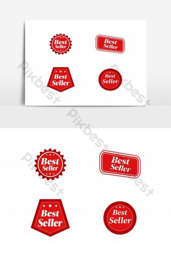 best seller signo símbolo etiqueta o etiqueta engomada insignia icono de vector plano Elementos graficos Modelo AI