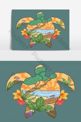 vector de ilustración de vista de playa de verano Elementos graficos Modelo EPS