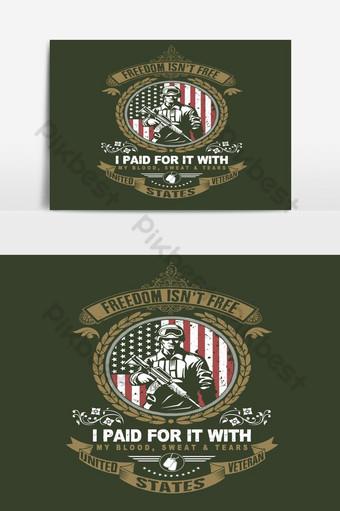 gráfico de vector de ilustración de emblema de día de veterano americano Elementos graficos Modelo EPS