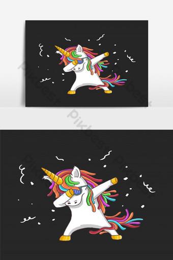 可愛的獨角獸舞會插畫矢量 元素 模板 EPS