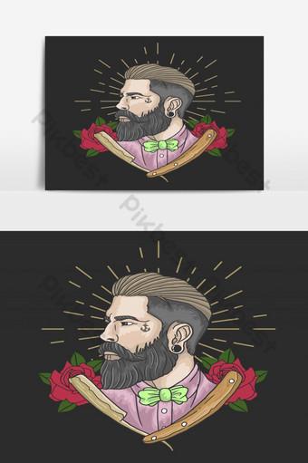 caballero, barbería, ilustración, vector, gráfico Elementos graficos Modelo EPS