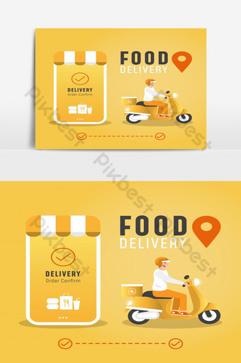 Online delivery service concept food delivery by scooter PNG Images Template EPS