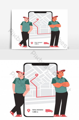 Online delivery service on the way concept PNG Images Template EPS