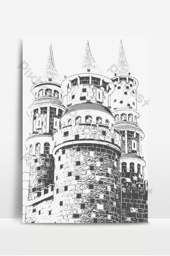 Castle image of hand-drawn black and white ink line sketch Backgrounds Template PSD