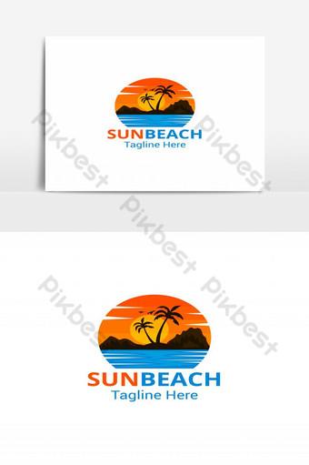 vector de diseño de logotipo colorido sol playa Elementos graficos Modelo AI