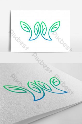 Letra w logo diseño de elemento de hoja Modelo AI
