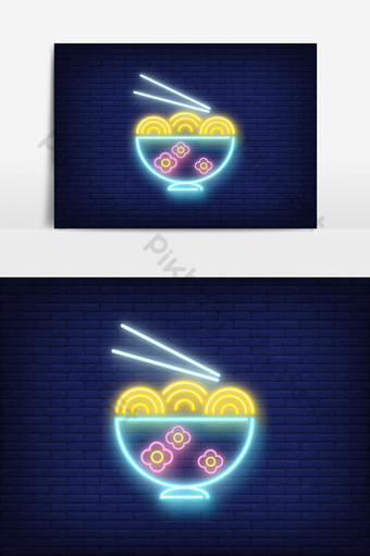 plantilla de comida china con logo de neón Elementos graficos Modelo EPS