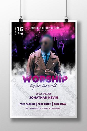 Menyembah Templat Desain Selebaran Gereja di Photoshop Templat PSD