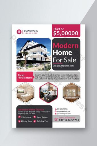 Conception d'élément d'impression de flyer immobilier élégant Modèle EPS