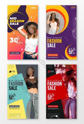 Modèle de conception de bannière Web de bannière de médias sociaux Instagram Stories Modèle PSD
