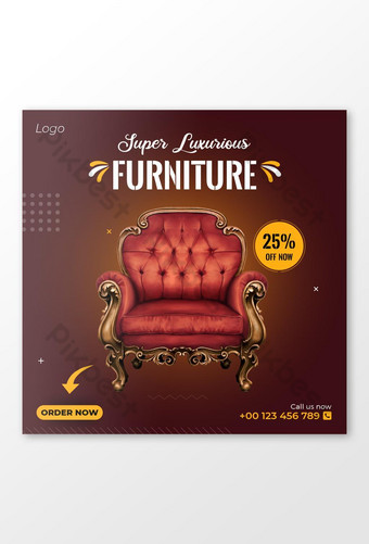 Sell Furniture Social Media Post Banner Template AI