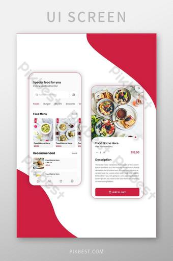 Interface utilisateur de l'application mobile de livraison de nourriture au restaurant UI Modèle AI