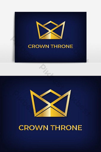 simple logo minimalista corona dorada Elementos graficos Modelo EPS