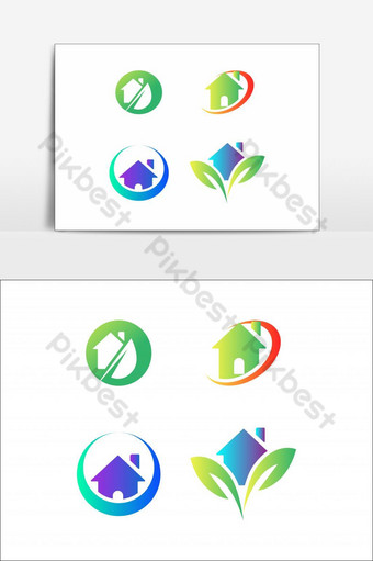 Home Green Residence Logo Icon Design Element Set PNG Images Template EPS