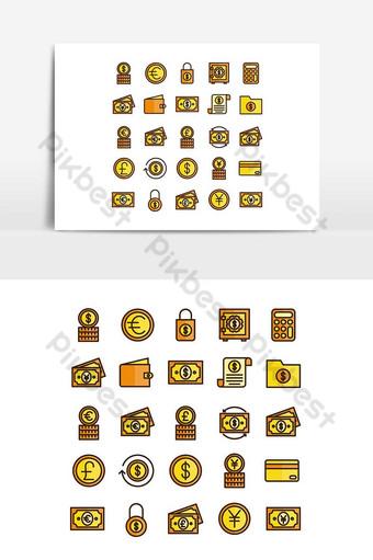 Ligne plate de vecteur de jeu d'icônes de finances pour les médias sociaux de présentation d'application mobile de site Web Éléments graphiques Modèle AI