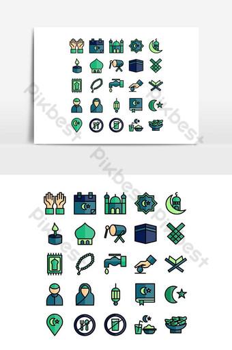 Ligne plate de vecteur de jeu d'icônes de Ramadhan pour les médias sociaux de présentation d'application mobile de site Web Éléments graphiques Modèle AI