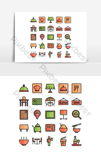 restaurant icon set vector flat line for website mobile app presentation social media PNG Images Template AI