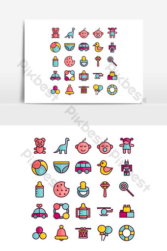 Jeu d'icônes de jouets pour bébés ligne plate de vecteur pour les médias sociaux de présentation de l'application mobile de site Web Modèle AI
