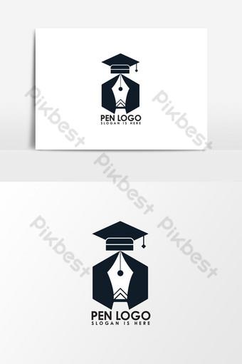 Educación con elemento gráfico de vector de logotipo de pluma Elementos graficos Modelo EPS