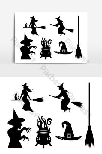 halloween bruja fantasma paquete halloween vector silueta Elementos graficos Modelo EPS