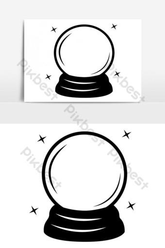 bola de cristal, halloween, vector, silueta Elementos graficos Modelo EPS