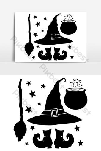 bruja de halloween, conjunto, vector, silueta Elementos graficos Modelo EPS